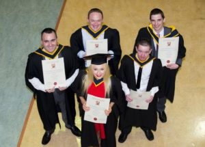 05-11.2015 Pictured at the Limerick Institute of Technology conferring ceremony are Electronic Systems graduates Liam Hanmore, from Ennis, Co. Clare, Gerard O'Brien, from Kilrush, Co. Clare, Justina Simonyte, from Killarney, Co. Kerry, Gary Lehane, from Lahinch, Co. Clare, and Adrian Brennan, from Ennis, Co. Clare. Picture credit: Diarmuid Greene/Fusionshooters